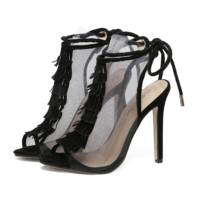 US5-9 New Fashion Style womens high heels Lace-Up Peep Toe Stiletto Cut-Outs Tassel sandals ladies celebrity shoes woman Pumps<br><br>Aliexpress