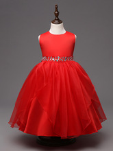 fashion new arrival hot pink white red navy blue crystal glilz dresses for 12 year olds for a wedding