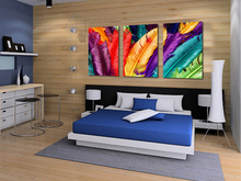 3 pieces Art Pictures fashionable Art Colorful Feather paintings on the wall Printed Canvas Pictures for living room unframe
