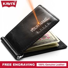 Buy KAVIS Brand Small Genuine Leather Male Thin Purse Wallet Men Money Clip Dollar Clamp Money Card DIY Gift Women Engraving for $13.20 in AliExpress store