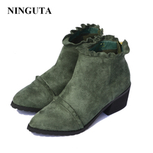 Ruffles ankle boots for women autumn shoes woman