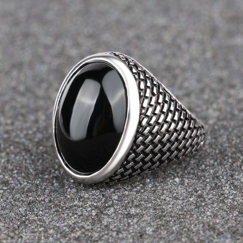 Classic Tibetan Silver Black Stone Rings