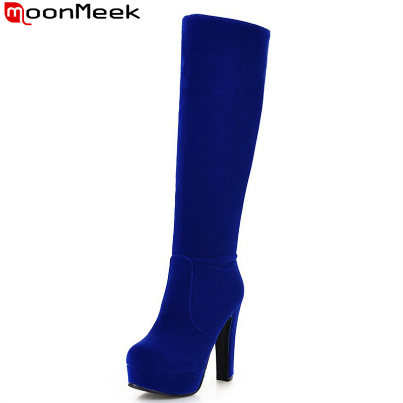 MoonMeek new arrival fashion flock the knee high boots for spring autumn hot sale popular plain platform boots for women<br>