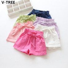 V-TREE Girls Cotton Shorts Baby Girls Solid Bow Shorts Toddlers Clothes Teenagers Casual Pants Children Candy Color Dresses