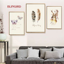 Simple style living room decoration animal elk and feather color art painting bedroom interior wall paint(China)