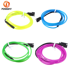 POSSBAY 3M Flexible EL Wire Neon Lamp Tube Rope Dance Party Shoes Clothing Car Decor Lighting DC 12V Glow LED Strip Ligh(China)