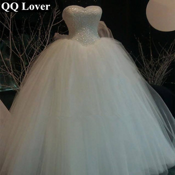 QQ Lover 2017 Luxury Ball Gown Bandage Wedding Dress Sweetheart Lace Pearls Sequins Bridal Wedding Gown Vestido De Noiva Q2604
