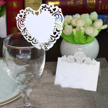 100 Pcs/Set Romantic White Carved Love Heart Shaped Wine Glass Table Mark Name Place Card for Birthday Party Wedding Decoration