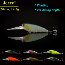 Jerry 1pc 78mm hard bait fishing diver lures deep diving shad crankbaits