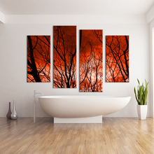 4 Panel The sky caught fire HD Wall painting print on canvas for home decor ideas paints on Wall pictures modern art painting(China)