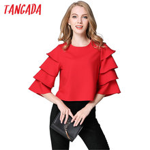 Tangada Women Ruffles Red blouses Shirts Blusas Feminina Chemise Femme Flare Sleeve Fashion Office Ladies Tops Female Clothing