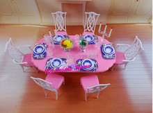 Dining Table Set / Dollhouse Dining Room Pink & White Furniture Saucer Chair Accessories for Barbie Kelly Ken Doll Girls Gift