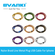 [Bvanki 8Pin] 10Pcs/lot new products 20cm/1m/2m/3m Data Sync Braid Nylon Fiber Optic Cable Anniversary Gift MFI For Iphone Cable