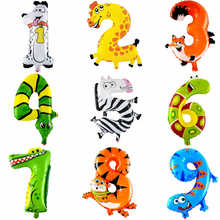 1PCS 16inch 2015 Animal Number Foil Balloons Kids Party Decoration Happy Birthday Wedding Decoration Ballon Gift Free Shipping(China)