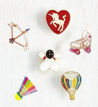 Timlee X114 Badminton Bow Roller Skating Shoes Unicorn Balloon Metal Brooch Pins Button Pins Jeans Bag Decoration Gift Wholesale(China)