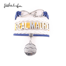Little MingLou Infinity love Real Madrid Bracelet soccer Charm leather wrap men bracelets & bangles for Women jewelry