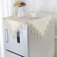[WIT]85x85cm Beige Europe Lace Tablecloth Square Multi-purpose Cover TV Refrigerator Wash Machine Bedside Table Cover Cloth 1pc(China)