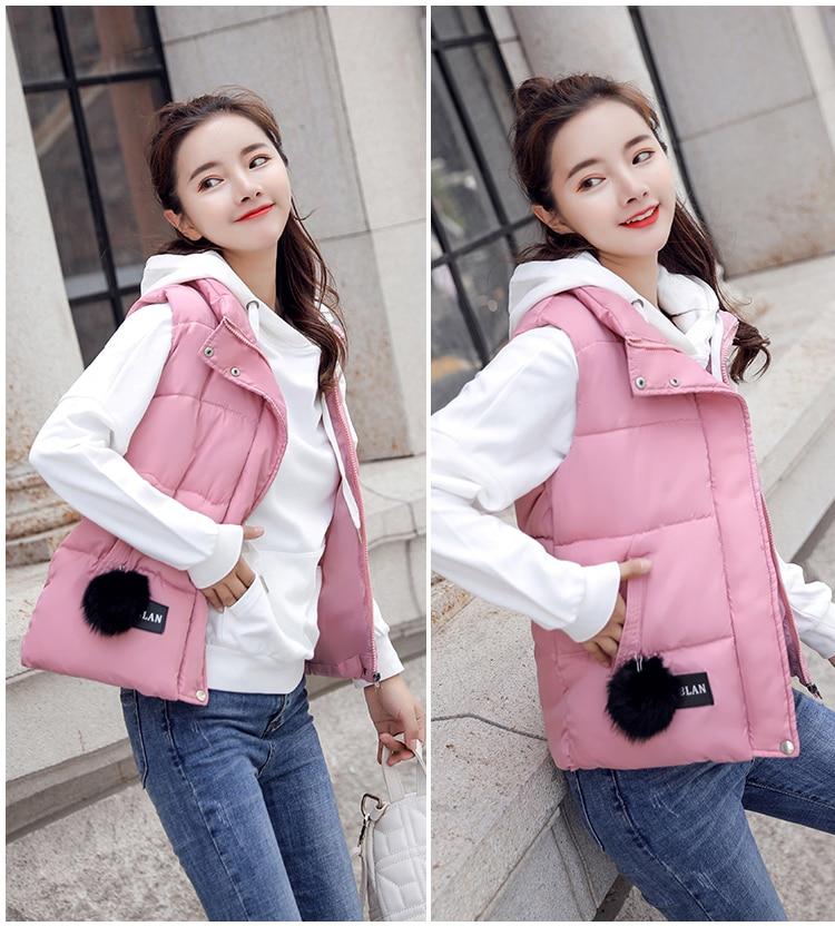 NIJIUDING M-XXXL 2018 New Parka Spring Autumn Slim Velvet Women Vest Jacket Warm Cotton-padded Winter Plus Size Waistcoat female (8)