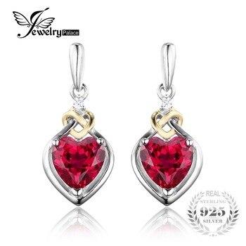JewelryPalace Любовь Узел Сердце 3.4ct Создания Красный Рубин Годовщина Падения Мотаться Серьги Женщины 925 Стерлингового Серебра 18 К Желтое Золото