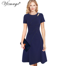 Vfemage Womens Elegant Summer Contrast Patchwork Cutout Tunic Work office Vintage Casual Party Fit and Flare Skater Dress 6039(China)