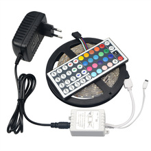 LED Strip Light RGB SMD 5050 300LEDs 5M Flexible Rope Tape Lights /24/44 Key Remote Controller / DC 12V 3A Adapter Power Supply