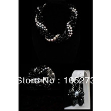 New Arriver Pearl Jewelry Set 6Rows 4-20MM Gray Round Pearl And Black Onyx Necklace Bracelet Earrings Shell Flower Clasp