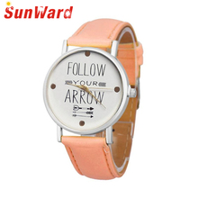 SUNWARD Wrist women Watches montre femme New Arrival Leather Band Quote Follow Your Arrow Analog Quartz Vogue DE22