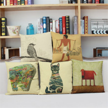 Indian creative animal cat dog bird view pattern Pillow case cushion cover Comfortable Home sofa coffee shop decoration for gift(China)