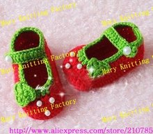 15pairs Hot Sale Handmade Crochet Baby Shoes Children Booties Cotton Shoes Flower Shoes New Year Christmas by EMS C(China)