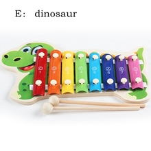 Kawaii baby music toys instrument kids crib toy wooden child hand knocking piano toy 1 - 3 years baby small dinosaur xylophone