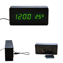 Fashion 2016 Sound Control LED Wooden Alarm Clock Digital Time Temperature Week Calendar Display for Home