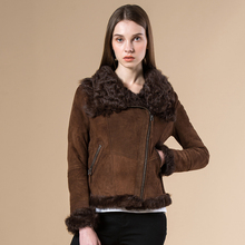 Winter female new real fur coat sheep fur shearling double face fur coats motorcycle Genuine Leather jacket women