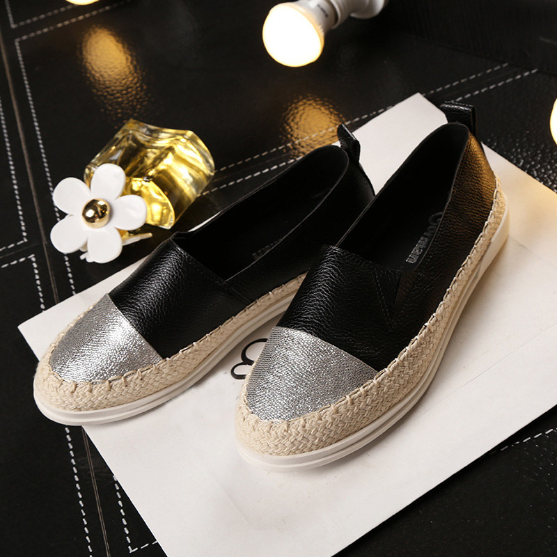 2017 Spring Casual Shoes Flats Heeled Genuine Leather Women Loafers Rubber Sole Leisure Women Espadrilles Maternity Shoes 35~43<br>