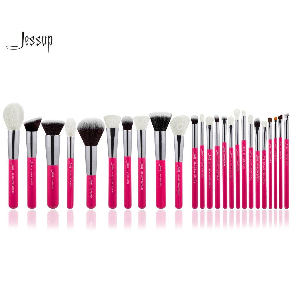 Jessup Rose-carmin/Silver Professional Makeup Brushes Set Make up Brush Tools kit Foundation Powder Blushes <br>