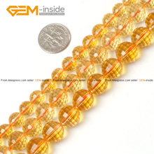 Round Faceted Citrines Beads For Jewelry Making 8-12mm 15inches DIY Jewellery FreeShipping Wholesale Gem-inside