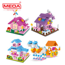 4pcs/lot Wltoys YZ Diamond Blocks Mini Pink House Building Bricks Cinderella Coach Model Toy Brinquedos Kids toys Girls Gift