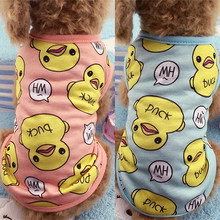 Cute Pet Dog Clothes Duck Printed Spring Puppy Cat Cotton T-shirt Vest Pet Clothing Blue/Pink XS-XXL