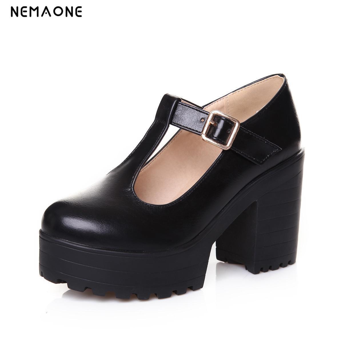 NEMAONE 2017 New fashion women shoes thick high heels platform shoes woman shoes spring autumn women pumps T-strap ladies shoes<br>