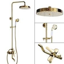 7.7'' Bath Rain Shower System with the Shower Head & Hand shower Set Rain & Hand Shower & Tub Spout Set (Gold Color Brass)agf315