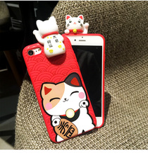 Cute 3D Cartoon Maneki Neko Lucky Cat Kitty Soft Silicon Back Case For iPhone 6 6s 7 iPhone 7 Plus Funny Red Full Cover Fashion