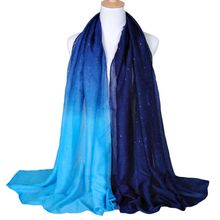 1PC Fashion Women Ladies Voile Scarf 2 Tone Gradient Color Soft Warm Shiny Scarves Summer Travel Voile Shawl Neck Stole Wrap Hot