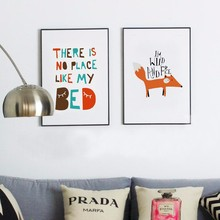 Fox Writing Posters and Prints Nordic Canvas Wall Pop Art Oil Paintings Nursery Canvas Wall Pictures for Living Room No Frame