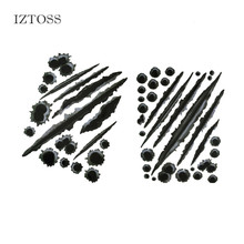 IZTOSS Car Styling Accessories 21*30cm Funny Car Stickers 3D Bullet Hole Scratch Car Stickers Decals