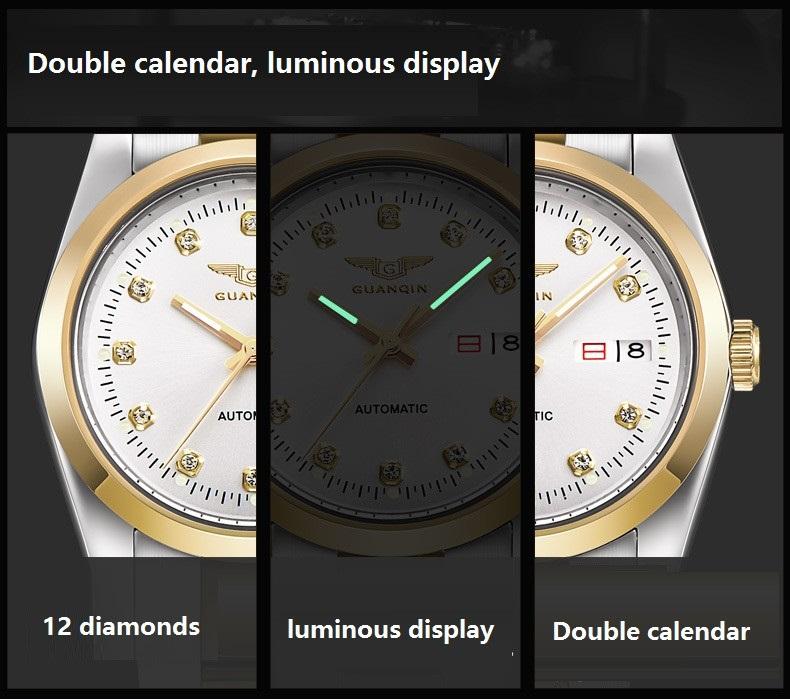 GUANQIN Gold Couple Watch Men Women Mechanical Watch Luminous Calendar Week Waterproof Rhinestones Automatic Lovers Watches (8)