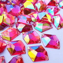 Shimmer Fuchsia 17x21mm Loose Rhinestone For Sewing Accessories Diy Stones and Crystals Sew-on Costumes Shoes Bags Party Prom