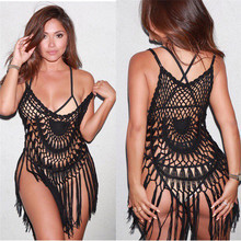 Swimwear tunics for Beach Cover Up Crochet 2017 Bikini Cover-Up Swimsuit Female De Plage Tassels Bathing Suit Ups Loose Dress