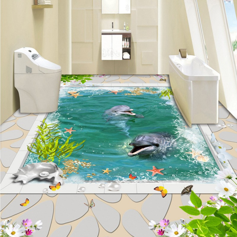Free Shipping custom 3D White marble floor stickers self-adhesive home decoration living room bathroom flooring wallpaper mural<br>
