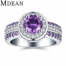 MDEAN purple stone ring round White Gold Plated rings for women wedding CZ diamond jewelry new fashion accessories bague MSR897