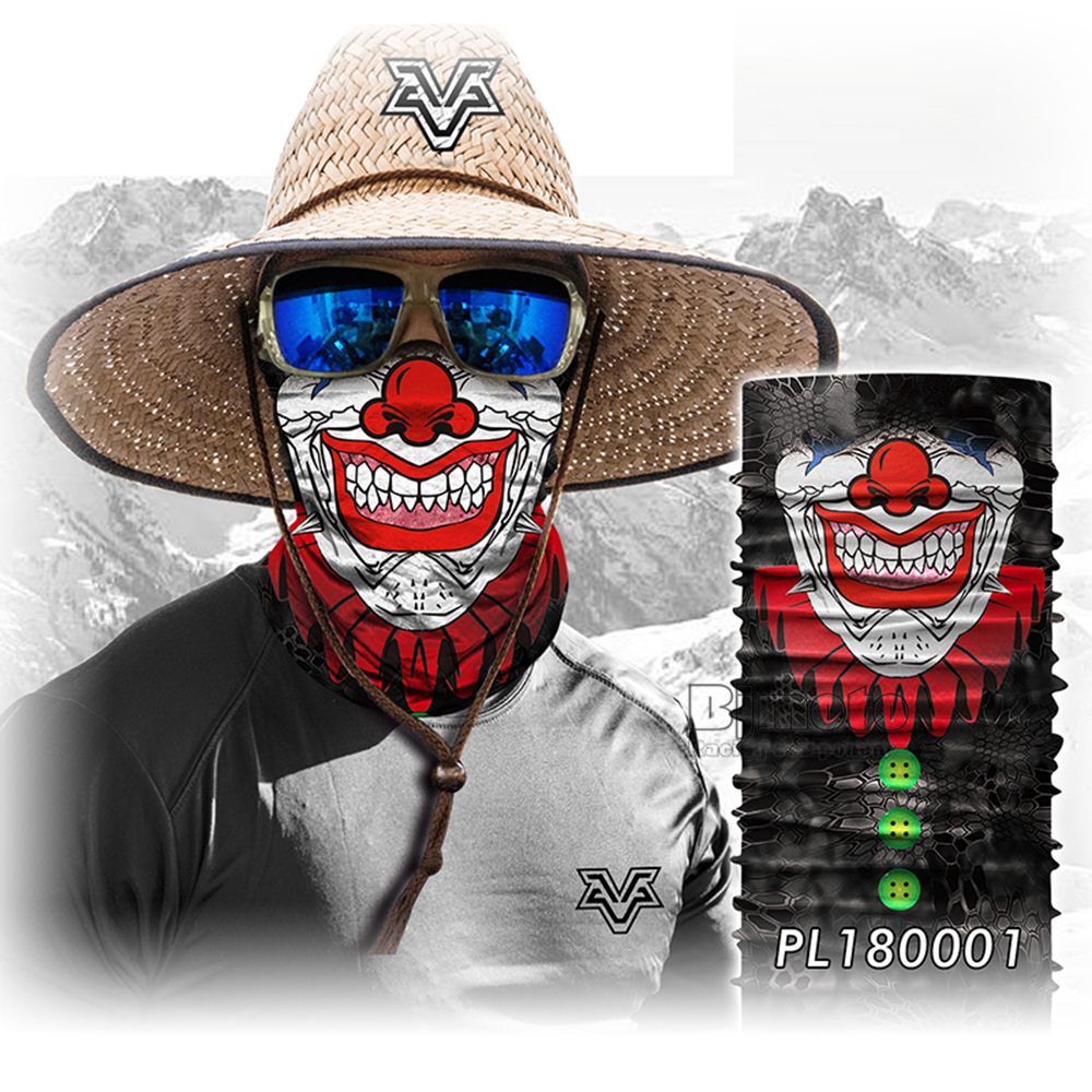 Magic Seamless Scarf Skull Ski Cycling Headwears Headband Motorcycle Neck Bandana 3D Vampire Human Face Bandana Scarf (1)