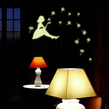New DIY Glow Wall Stickers Decal Baby Kids Dandelion Girl Design Fluorescent Wallpaper Luminous Sticker(China)